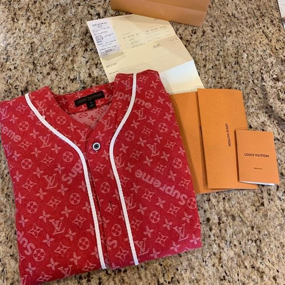 21db37f4c005c1 Louis Vuitton Shirts | X Supreme Red Denim Baseball Jersey | Poshmark